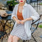 High-waist Plaid Mini Pleat Skirt