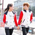 Couple Matching Striped Trim Hooded Baseball Jacket