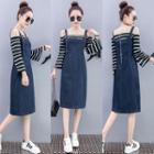 Striped Panel Denim Suspender Dress