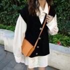 Plain Shirt / Buttoned Knit Vest