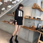 Court Style Long-sleeved Shirt Black - One Size