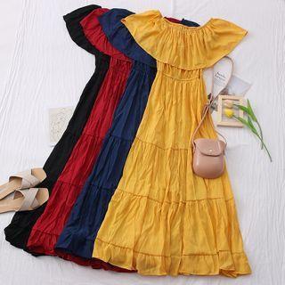 Boatneck Ruffled Midi Dress