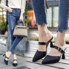 Ruched Ankle Strap Kitten Heel Sandals