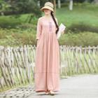Long-sleeve Patterned Panel Maxi Dress