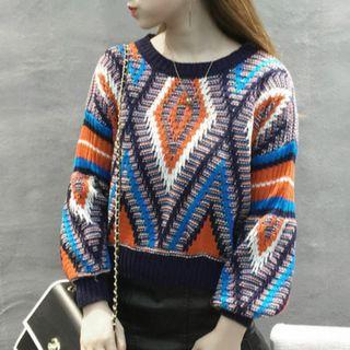 Lantern-sleeve Contrast-trim Patterned Sweater