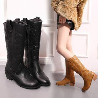 Faux Leather Shirred Chunky Heel Short Boots