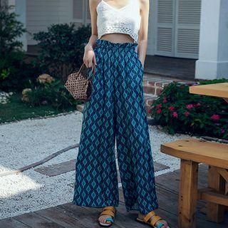 Cropped Crochet Camisole Top / Patterned Wide Leg Pants