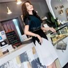 Lace Panel Short Sleeve Pleated Midi Dress