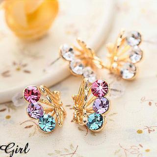 Rhinestone Butterfly Earrings