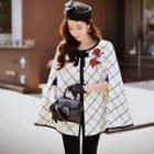Embroidered Check Zip Cape Coat