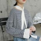 Long-sleeve Striped Top As Shown In Figure - One Size