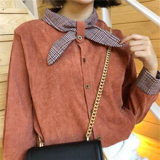 Plaid Cuff Corduroy Shirt