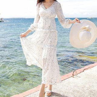Star Patterned Chiffon Maxi Dress