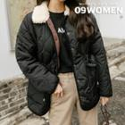 Faux-shearling Lined Quilted Jacket