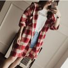 3/4-sleeve Plaid Long Hooded Shirt