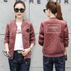 Velvet Embroidered Bomber Jacket