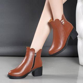 Faux-leather Chunky-heel Ankle Short Boots