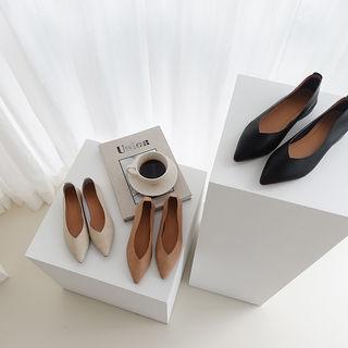 Pointy-toe Pleather Flats