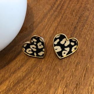 Heart Leopard Earrings Gold - One Size
