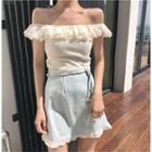 Ruffle Trim Short-sleeve Top / A-line Skirt