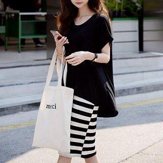 Set: T-shirt + Striped Dress Black - One Size