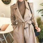 Belted Faux-suede Trench Coat