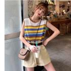 Striped Knitted Tank Top / High Waist Shorts