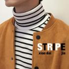Striped Turtleneck Long-sleeve Ribbed Top