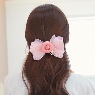 Flower Stripe Ribbon Hair Pin