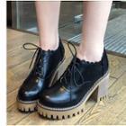 Scallop Detail Chunky Heel Platform Oxfords