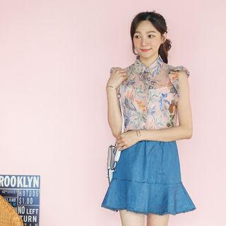Sleeveless Frilled Floral Sheer Blouse