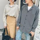 Couple Matching Plaid Notch Lapel Shirt