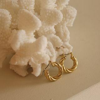 Cord Hoop Earrings Gold - One Size