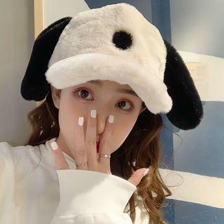 Dog Ear Fluffy Baseball Cap Black & White - One Size
