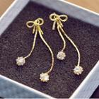 Rhinestone Bow Dangle Earring Silver - One Size