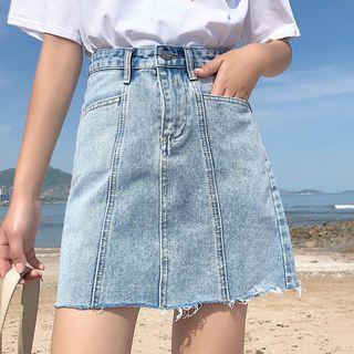 Frayed Hem A-line Mini Denim Skirt