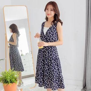 Floral Print Surplice Chiffon Dress
