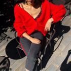 Raglan-shoulder Wool Blend Cardigan In 4 Colors