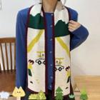 Printed Knit Scarf As Shown In Figure - One Size