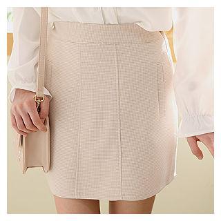 Band-waist Checked Mini Skirt