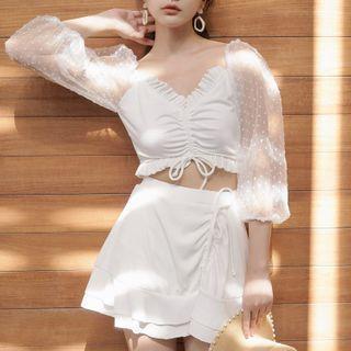 Set: 3/4-sleeve Dotted Mesh Tankini Top + Swim Skirt