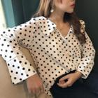 Dotted V-neck Blouse