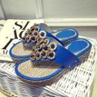 Embellished Platform Slide Sandals