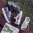 Embroidery Denim Lace-up Sneakers