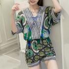 Set: V-neck Printed 3/4-sleeve Top + Printed Shorts