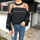 Mesh Puff-sleeve Loose-fit Top