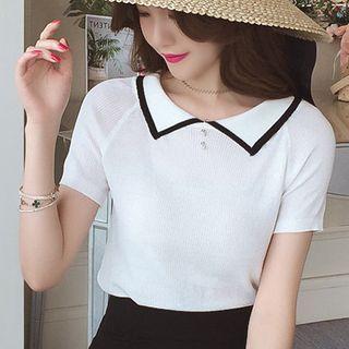 Short-sleeve Striped Polo Knit Dress