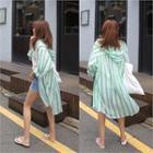 Hooded Stripe Long Shirt