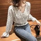 Long-sleeve Patterned Buttoned Top