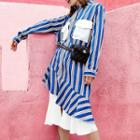 Ruffle Hem Striped Shirt Dress